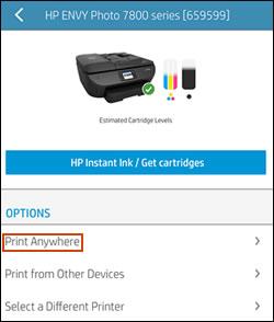 Print Anywhere menu in HP Smart