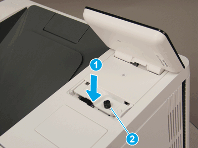 Lower the control panel and install one screw