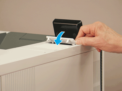 Align the control panel cover and pivot down to install it