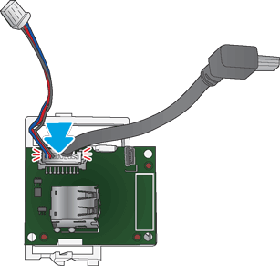 Attach the large white connector to the PCA