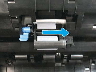Slide the locking lever toward the back