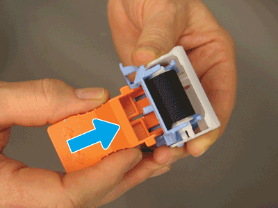 Install the replacement separation roller onto the orange tool