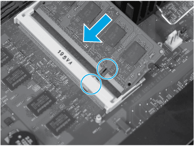 Align the DIMM notch with the connector tab