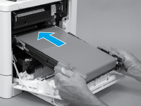 Align the ITB with the slots in the printer
