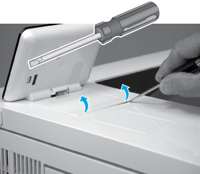 Release the control-panel screws cover tabs
