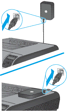 Attach the USB cable to the print server