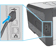 Attach the USB cable to the printer