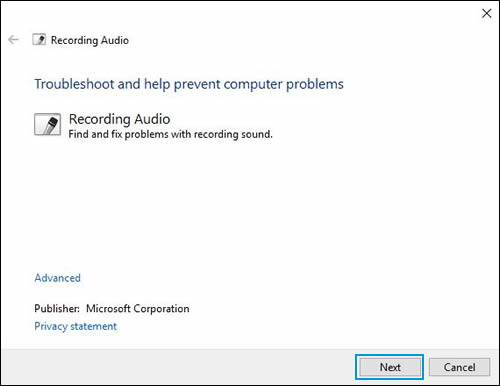 Troubleshoot recording audio