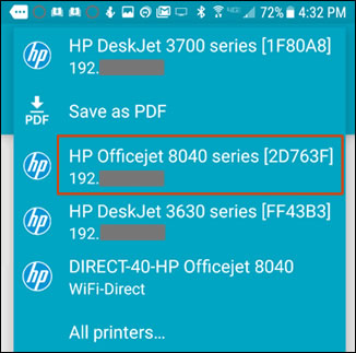 Selecting a printer from the list of available printers