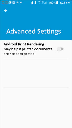 Turning on Android Print Rendering