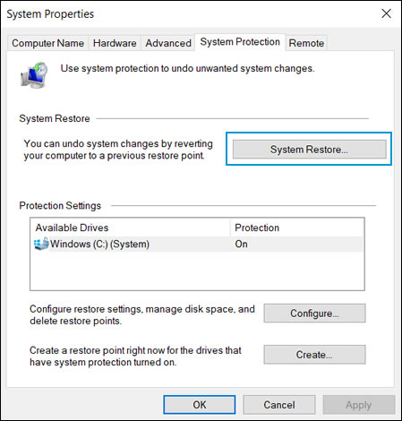 Selecting System Restore in the System Properties window