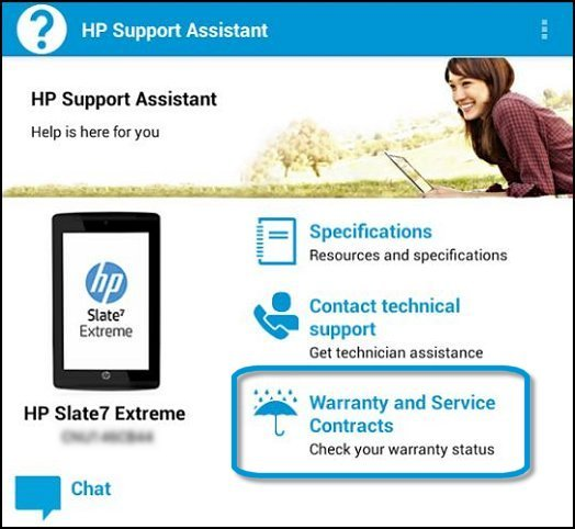 Warranty and Service Contracts in the HP Support Assistant app