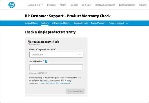 The HP Product Warranty Check webpage displaying the country/region of purchase and serial number entry fields