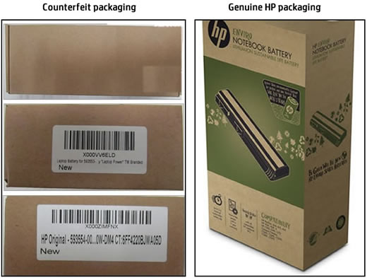Counterfeit and genuine HP packaging