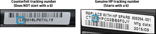 Counterfeit and genuine HP tracking number labels