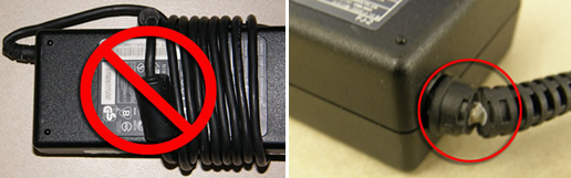 Power cord wrapped around adapter, and damaged adapter cord