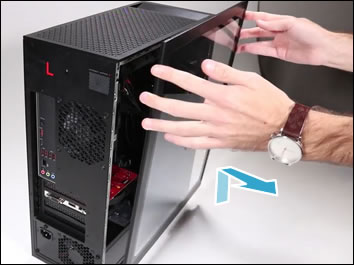 Removing the side access panel on a desktop computer