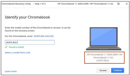 Example of the Identify your Chromebook screen
