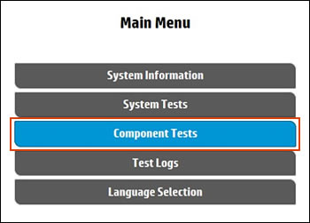 Selecting Component Tests on the Main Menu