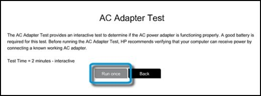 Running the AC Adapter Test
