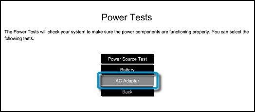 Power Tests menu with AC Adapter selected