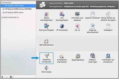 Klikken op Draadloos installeren in de HP Utility