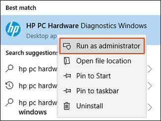 Selecting Run as administrator