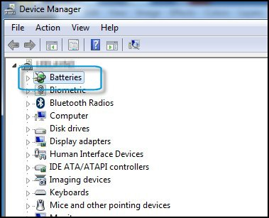 Device Manager with Batteries highlighted