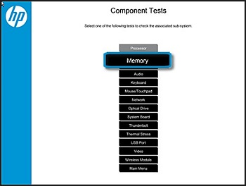 Selecting Memory in Component Tests