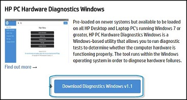Downloading Hardware Diagnostics for Windows