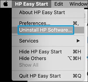 Clicking Uninstall HP software in HP Easy Start