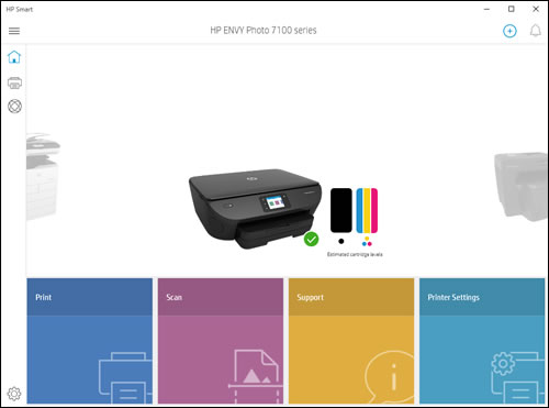 HP Smart home screen