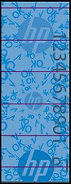 Hologramme bleu figurant sur l'étiquette de sécurité HP
