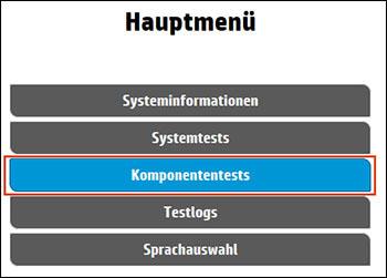 Auswählen von Komponententests im Hauptmenü