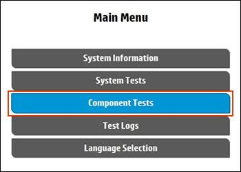 Välja Komponenttester i huvudmenyn