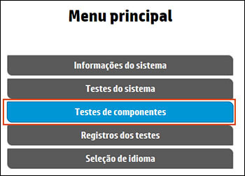 Selecionar Testes de componentes no menu principal
