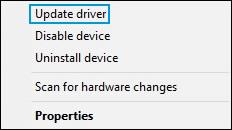 Seleccionar Actualizar controlador en el Administrador de dispositivos