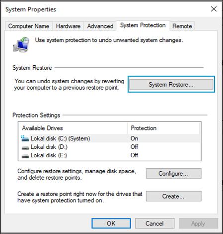 Velge Systemgjenoppretting i vinduet Systembeskyttelse