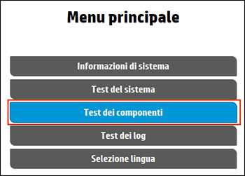Selezione di Test dei componenti dal menu principale