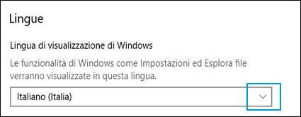 Modifica della lingua di visualizzazione di Windows