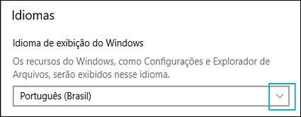 Alteração do idioma de exibição do Windows