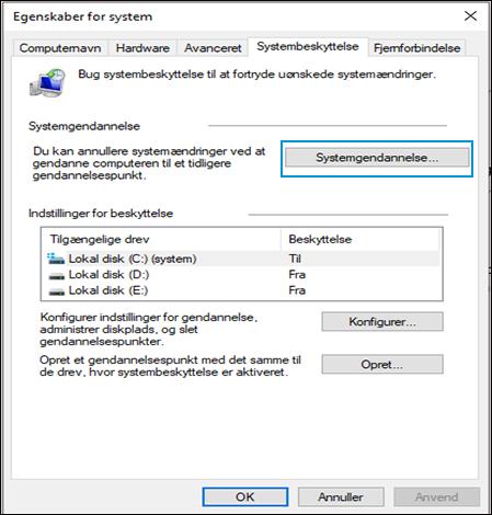 Valg af Systemgendannelse i vinduet Systemegenskaber