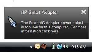 Mensagem do HP Smart Adapter - potência de saída muito baixa