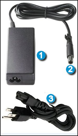 Componentes del adaptador de CA