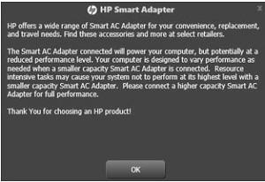 Mensaje del adaptador inteligente: rendimiento reducido