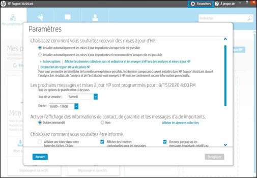 L'écran des paramètres d'HP Support Assistant