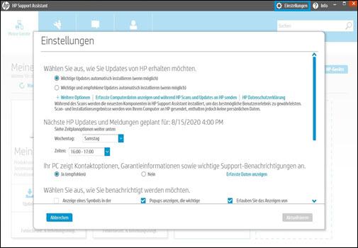 Bildschirm Einstellungen in HP Support Assistant