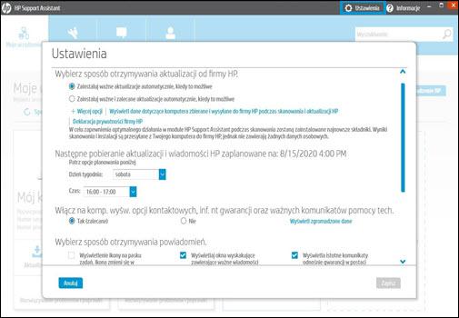 Ekran ustawień HP Support Assistant