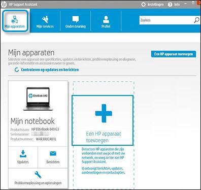 Op Een HP apparaat toevoegen klikken