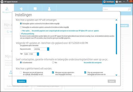 Het scherm met instellingen van HP Support Assistant
